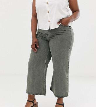 Asos DESIGN Curve premium wide leg jeans in washed khaki-Green