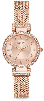 Fossil RELIC BY Relic By Savannah Womens Crystal Accent Rose Goldtone Stainless Steel Bracelet Watch-Zr34577