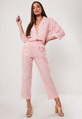 Missguided Pink Co Ord Linen Cigarette Pants