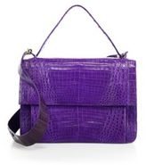 Nancy Gonzalez Crocodile Flap Top-Handle Messenger Bag