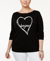 Charter Club Plus Size Bonjour Heart Graphic Sweater, Only at Macy's