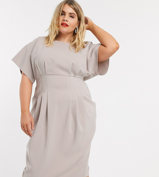 ASOS DESIGN Curve nipped in waist midi pencil dress in gray