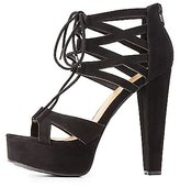 Charlotte Russe Bamboo Caged Lace-Up Platform Sandals