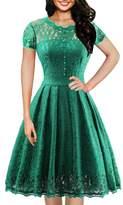 OWIN Women's Retro Floral Lace Cap Sleeve Vintage Swing Bridesmaid Dress (XL, )