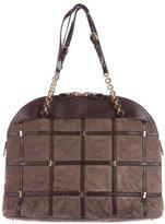 Salvatore Ferragamo Leather-Trimmed Suede Shoulder Bag