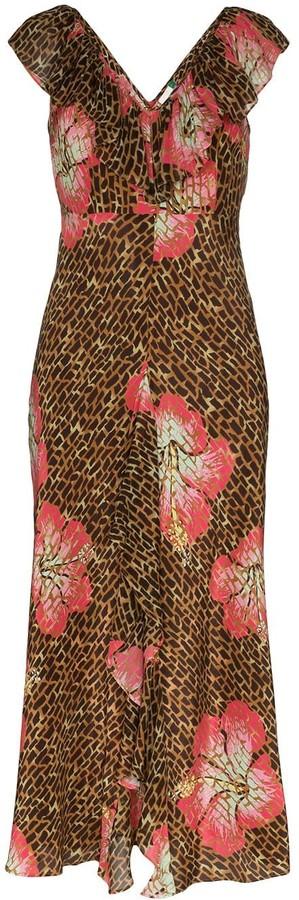 Rixo Antoinette animal floral print midi dress