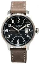 Filson Mackinaw Field F0120072834 Men's Quartz Watch Blue Dial Leather Band 43mm