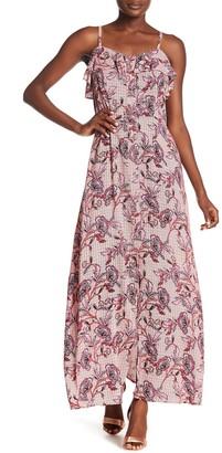 Sharagano Printed Ruffle Maxi Dress