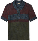 Bottega Veneta - Printed Ribbed-knit Polo Shirt