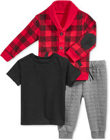 First Impressions Baby Boys' 3-Pc. Plaid Cardigan, T-Shirt & Jogger Pants Set, Only at Macy's