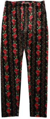 MonnaLisa Rose Print Velvet Leggings