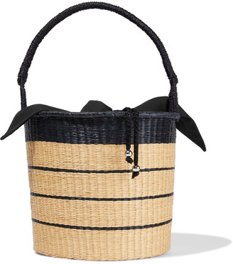 Sensi Two-tone Striped Woven Toquilla Straw Bucket Bag
