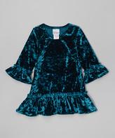 Flap Happy Emerald Lizzy Crushed Velvet Dress - Infant & Girls