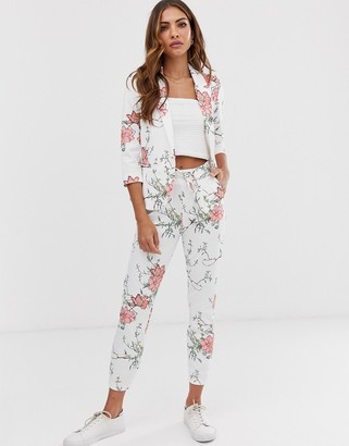 B.young floral slim leg suit trousers-Multi