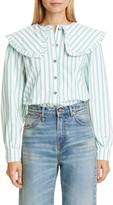 Ganni Stripe Ruffle Collar Cotton Poplin Blouse