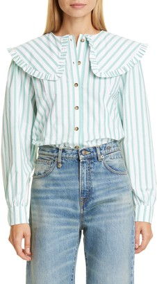 Ganni Stripe Ruffle Collar Cotton Poplin Blouse
