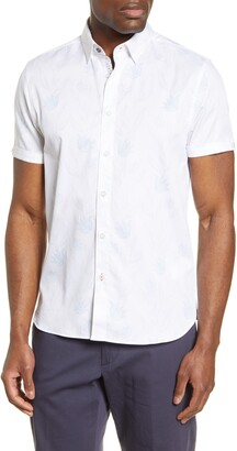 Ted Baker Slim Fit Floral Print Short Sleeve Button-Up Shirt