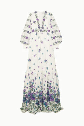 Andrew Gn Lace-trimmed Printed Silk-blend Gown - White