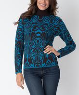 Yuka Paris Brown & Turquoise Abstract Turtleneck