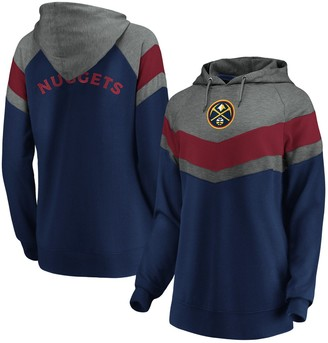 Women's Fanatics Branded Gray/Navy Denver Nuggets True Classics Go All Out Chevron Pullover Hoodie
