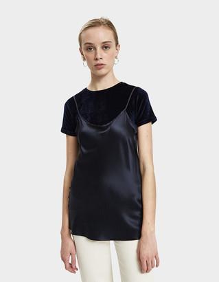 Base Range Women's Dydine Strap Top in Vein Blue, Size Medium | Silk