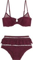 Zimmermann Good Times Ruffled Broderie Anglaise And Point D'esprit Triangle Bikini - Burgundy