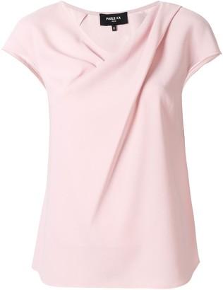 Paule Ka Short-Sleeve Draped Blouse