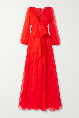 Alexander McQueen Cutout Silk-crepon Gown - Red