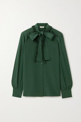 Tory Burch Pussy-bow Fringed Silk Crepe De Chine Shirt - Emerald