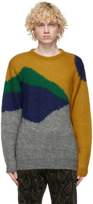 Clot Yellow and Grey Mohair and Wool Sweater