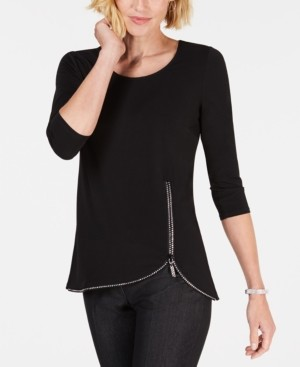 JM Collection Petite Embellished-Zip Top, Created for Macy's