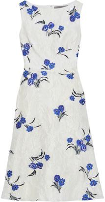 Lela Rose Organza-jacquard Midi Dress
