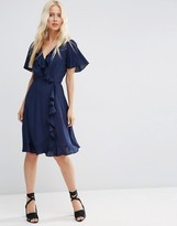 Asos Midi Tea Dress With Ruffle Wrap Front
