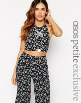 Asos Co-ord Top With Halter Neck In Ditsy Floral With Floral Inserts