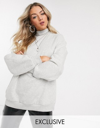 Bershka high neck sweat top in gray