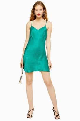 Topshop Womens Tall Green Jacquard Mini Slip Dress - Green