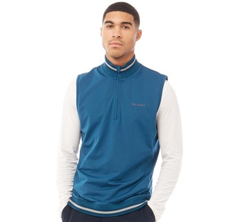 Ted Baker Mens Gala Golf Gilet Zip Through Teal Blue