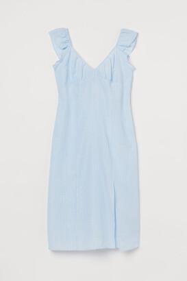 H&M H&M+ Slit-detail Dress - Blue