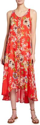 Johnny Was Abeline Floral Print Sleeveless Dress w/ Slip