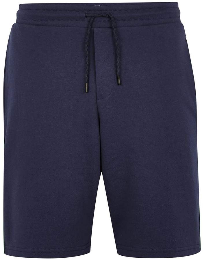 Topman Navy And Green Jersey Shorts