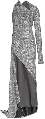 Monse Sequin Sliced One-Shoulder Gown