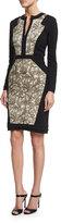 Etro Long-Sleeve Combo Sheath Dress, Ivory/Gold