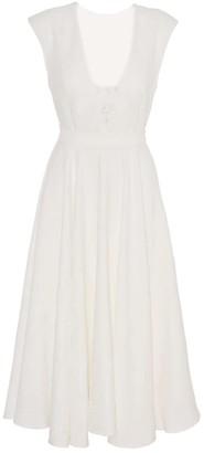 Anna Etter Midi White Dress Tena With Deep V Neck