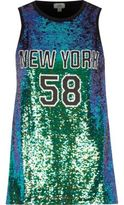 River Island Womens Green sequin 'New York' tank top