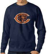Sofia-Mans Men's Chicago Bears Football Logo Crew Neck Hoodies L (2 Colors)