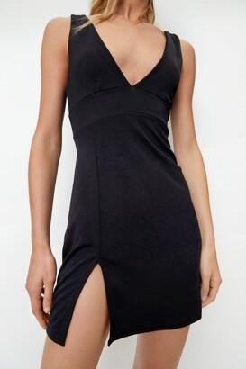 Nasty Gal Womens Plunging V Neck Slit Front Mini Dress - Black - 14