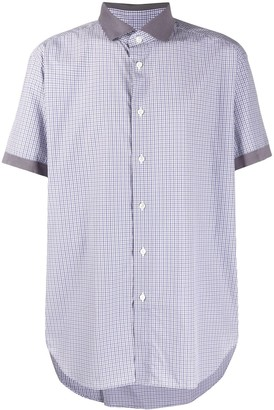 Brioni Check Shirt With Contrast Collar