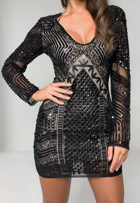 Missguided Black Sequin Deep Plunge Mini Dress