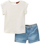7 For All Mankind Fray Sleeve Top & Short Set (Baby Girls)