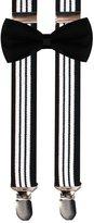 JIERKU Blue Suspenders Stripe and Toddler Navy Bow Tie